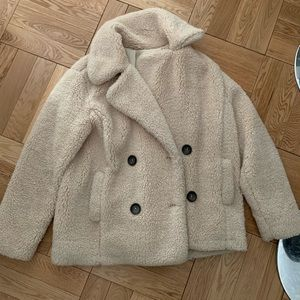 Free People Tan Teddy Bear Coat Size S